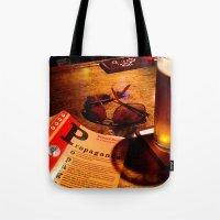 propaganda Tote Bags featuring Propaganda Brewski by J VanBlarcum