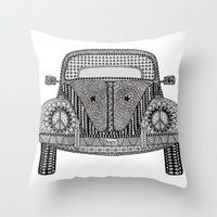 volkswagon Throw Pillows featuring Tangled VW Bug by Cherry Creative Designs
