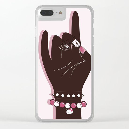 Pinky hand illustration Clear iPhone Case