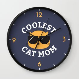Coolest Cat Mom Wall Clock