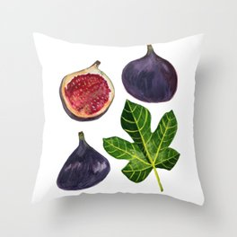 Figs Fruity Botanical Gouache Painting Throw Pillow