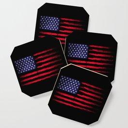 Vintage American flag on black Coaster