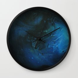 Blue Planet on White Background Wall Clock