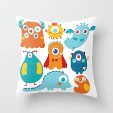 Aliens and monsters pattern Throw Pillow
