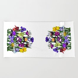 Iris garden Beach Towel