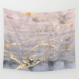 Watercolor Gradient Gold Foil IV Wall Tapestry
