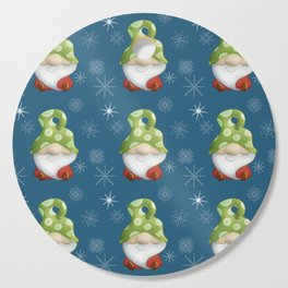 Blue Winter Gnome Pattern Cutting Board