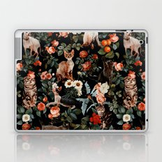 Cat and Floral Pattern II Laptop & iPad Skin