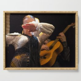 Flamenco, guitar, Séville, dance Serving Tray