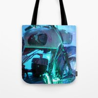 motorbike Tote Bags featuring Ice Motorbike 1 by Marko Köppe