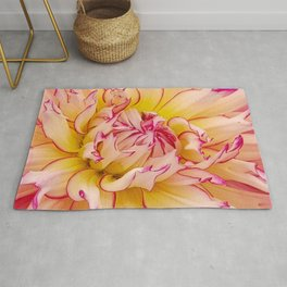 Pink Dahlia with Bright Pink tips Close Up Detail Rug