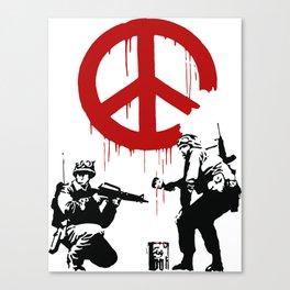 Soldiers Painting Peace Symbol, Banksy, Streetart Street Art, Grafitti, Artwork, Design For Men, Wom Canvas Print