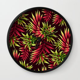 Aechmea Fasciata - Green/Pink Wall Clock