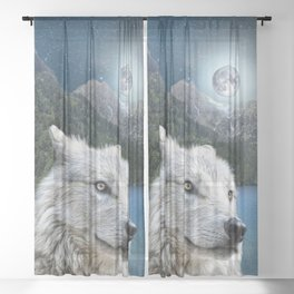 White Wolf and Moonlight Sheer Curtain