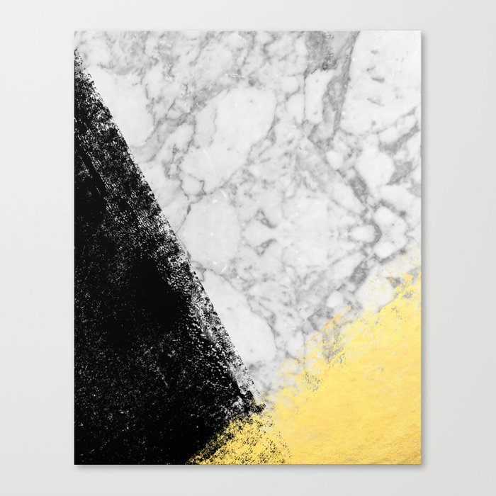 Marble with Black & Gold - gold foil, gold, marble, black and white, trendy, luxe, gold phone Canvas Print