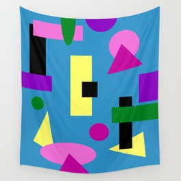 Geometry Shapes on Blue Wall Tapestry