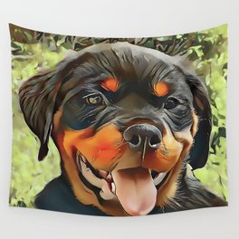 Chubby Rottweiler Puppy Wall Tapestry