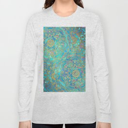 Sapphire & Jade Stained Glass Mandalas Long Sleeve T-shirt