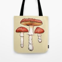 mushrooms Tote Bags featuring Mushrooms by CHAR ODEN
