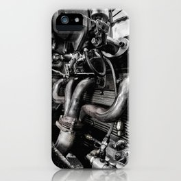 Black and White Hot Rod Engine iPhone Case