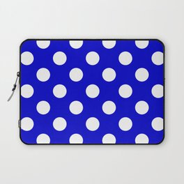 Medium blue - blue - White Polka Dots - Pois Pattern Laptop Sleeve