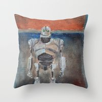 iron giant Throw Pillows featuring Iron Giant and Rothko by Renee Bolinger