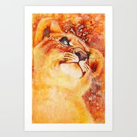 simba Art Prints featuring Sunnyside Simba by Nicole Marie Walker