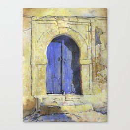 Blue doorway on house in Sidi Bou Said- Tunisia.  Tunisian doorway fine art watercolor painting Canvas Print