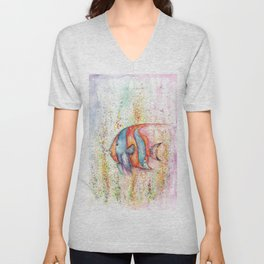 Fish Watercolor Painting Unisex V-Neck