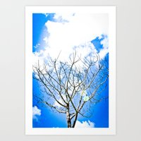 Over blue Art Print