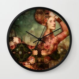 Mermaid among flowers Wall Clock