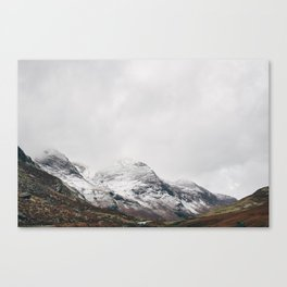 High Stile peak covered in snow. Buttermere, Cumbria, UK. Canvas Print