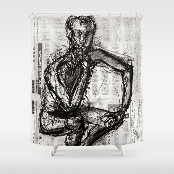 Instinctive - Charcoal on Newspaper Figure Drawing Shower Curtain