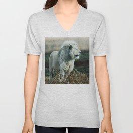 White lion Unisex V-Neck