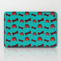 fez iPad Cases featuring Red Fez & Bow Tie (on teal green) by Bohemian Bear by Kristi Duggins