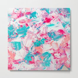 Modern bright candy pink turquoise pastel brushstrokes acrylic paint Metal Print