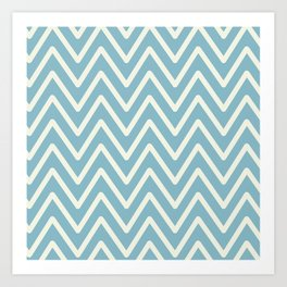 Chevron Wave Blue Petit Four and Glass Green Art Print