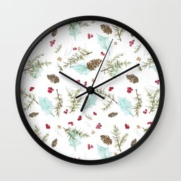 Pinecones and Berries Wall Clock