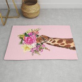 Flower Crown Baby giraffe in Pink Rug
