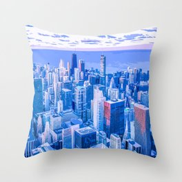Blue Chicago Skyline Throw Pillow