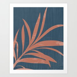 Blue Abstract Leaf Art Print