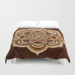 Patience and lucky of harmony mandala wood marquetry Duvet Cover