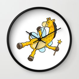 Giraffe as Bee with Wings and Magic wand Wall Clock