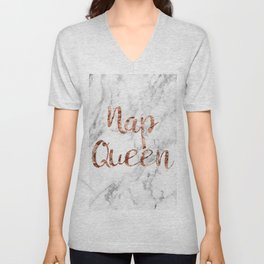 Nap queen - rose gold on marble Unisex V-Neck