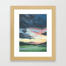 Sunset over Yellowstone Framed Art Print