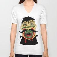 vegan V-neck T-shirts featuring Vegan Conversion by Skinny Gaviar