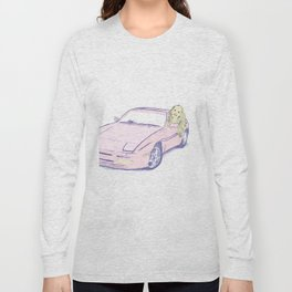 Girl and Pink Sports Car Long Sleeve T-shirt
