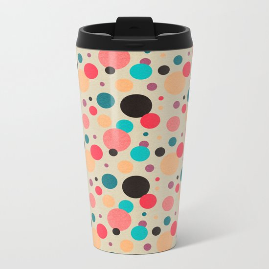 Multicolored Geometric Polka Dot Pattern Metal Travel Mug