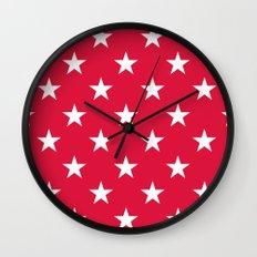 Stars (White/Crimson) Wall Clock