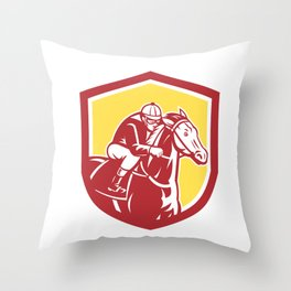 Jockey Horse Racing Shield Retro Throw Pillow